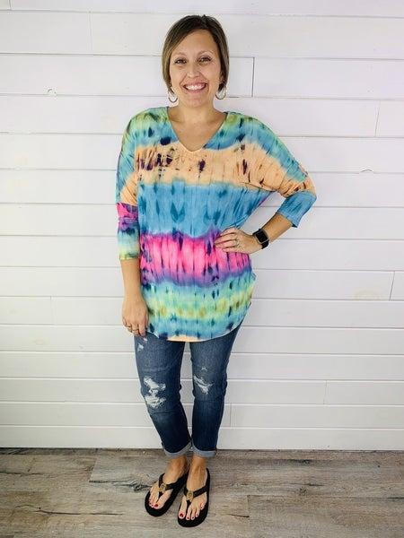PLUS/REG HoneyMe Bright Tie Dye Top With Dolman Sleeves
