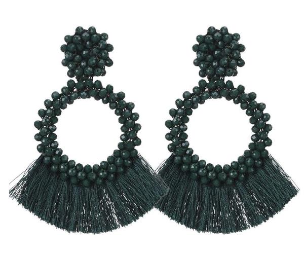 Dark Green Tassel And Glass Bead Earrings