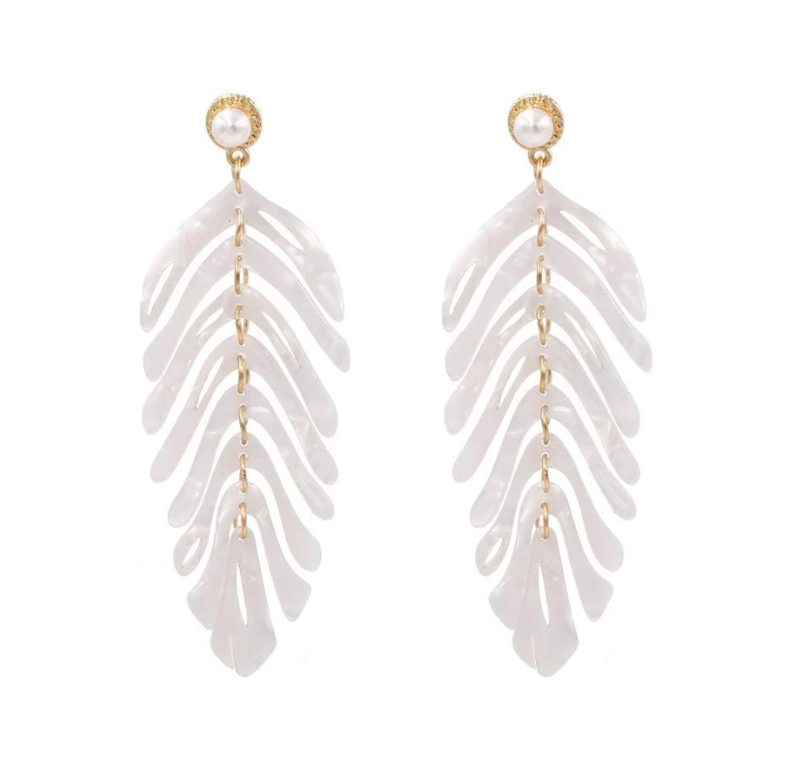 White Acrylic Palm Leaf Earrings