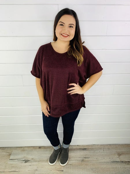 PLUS/REG Honeyme Short Sleeve Lightweight Sweater