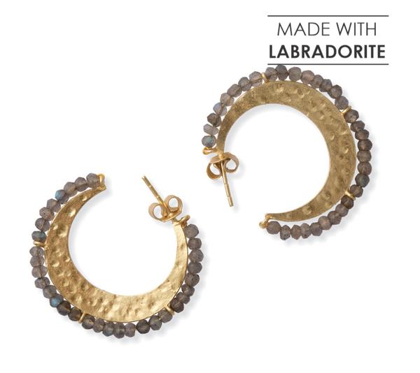 Myra Handcrafted Gold and Labradorite Hoop Earrings
