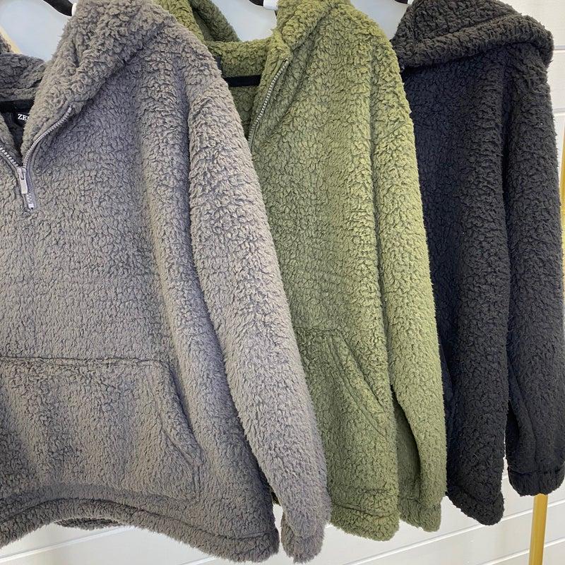 DOORBUSTER PLUS/REG Ready Teddy Hooded Sherpa- 3 Colors!