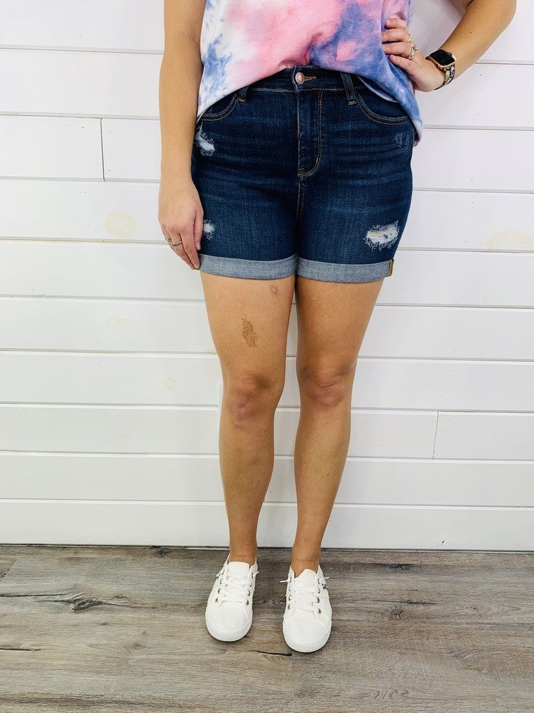 PLUS/REG Judy Blue Chasing Sunsets Cuffed Dark Wash Shorts