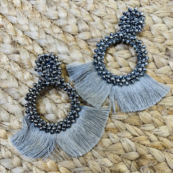 Silver Tassel and Glass Bead Earrings