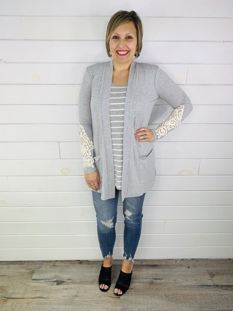 PLUS/REG DOORBUSTER Cardi with Crochet Detailing--5 Colors!