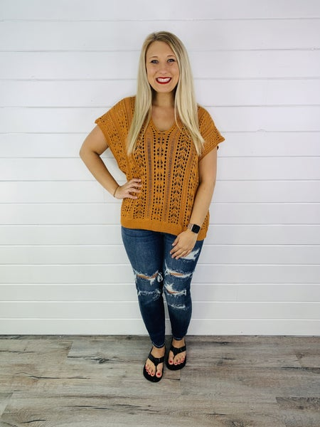 Rust Open Knit Top with Lace Up Back
