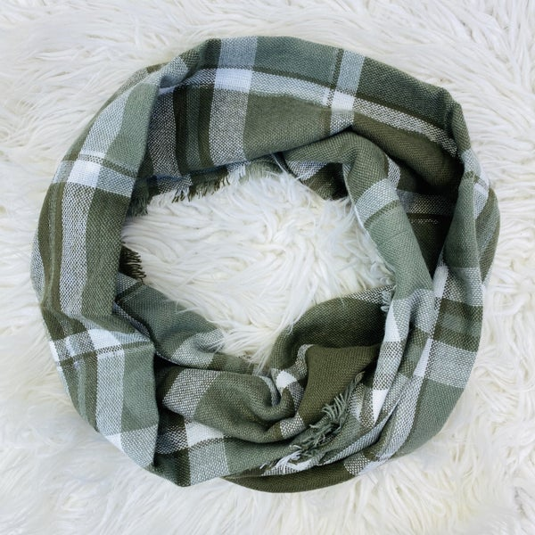 Olive Plaid Blanket Scarf With Metallic Lining