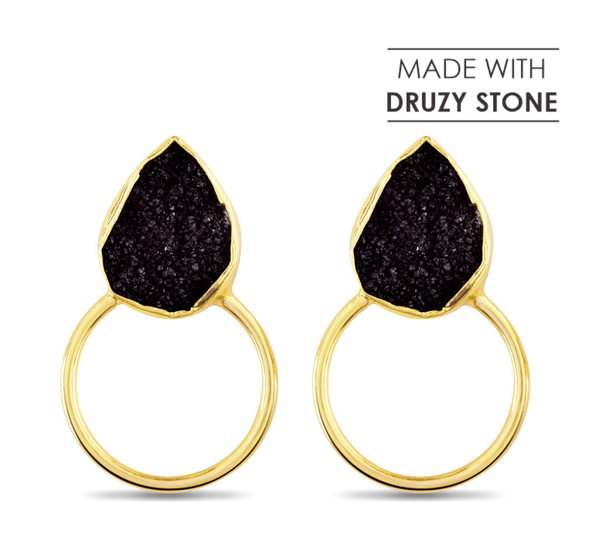Myra Bag Handcrafted Black Druzy Stone Earrings