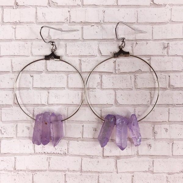 Custom MOCO Purple Crystal Stone Earrings