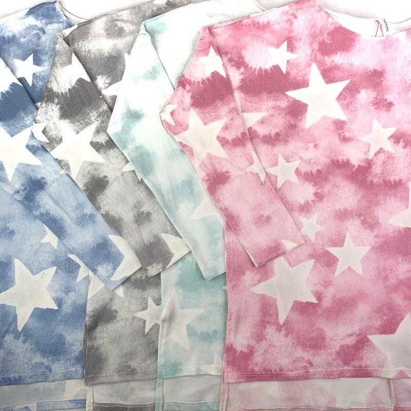 PLUS/REG HoneyMe Brushed Long Sleeve Star Top--4 Colors!