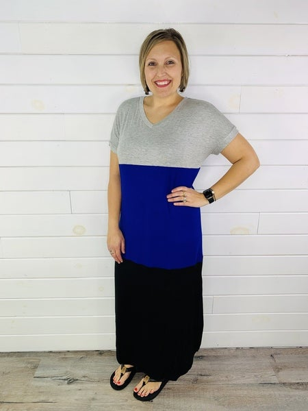 Colorblock Maxi Dress with Cuffed Sleeves - 2 COLORS!