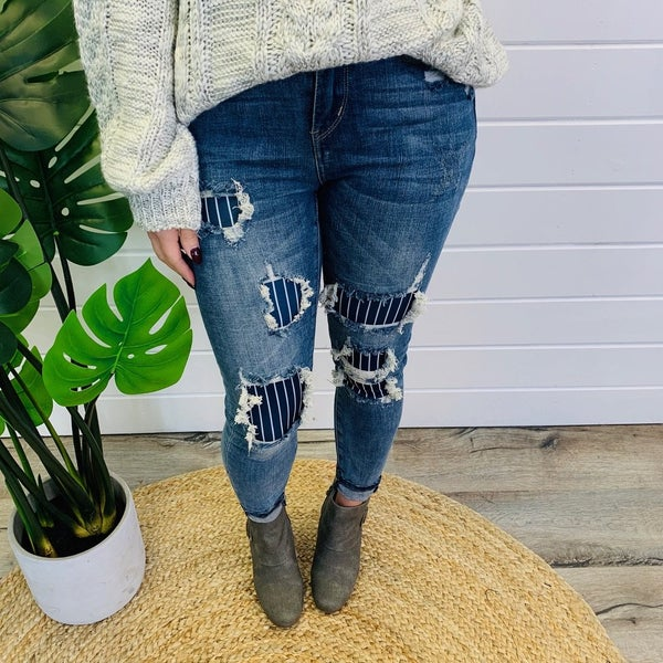 PLUS/REG Judy Blue Pinned and Patched Skinny Jeans