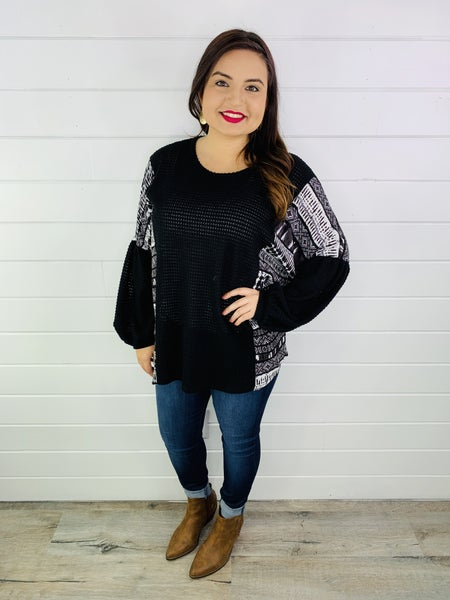 PLUS/REG Honeyme Waffle Knit Top with Tribal Print Balloon Sleeves