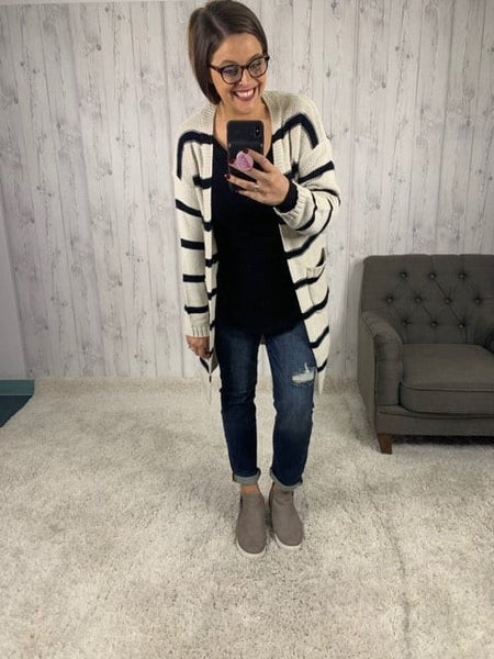 HoneyMe Plus/Reg Taupe and Black Long Cardigan with Pockets