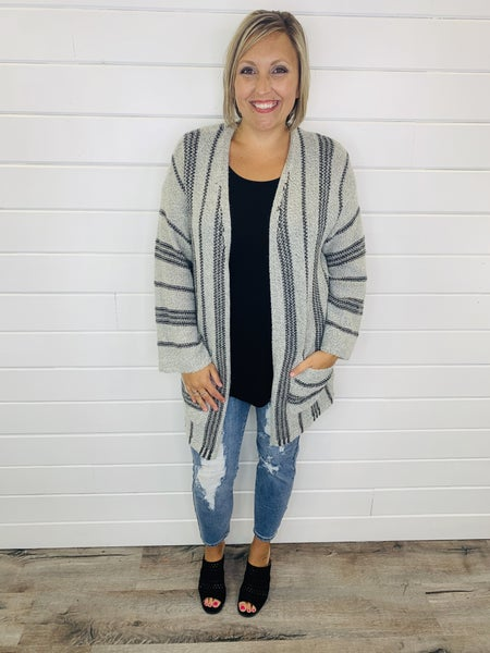Vertical Stripe Cardi with Pockets