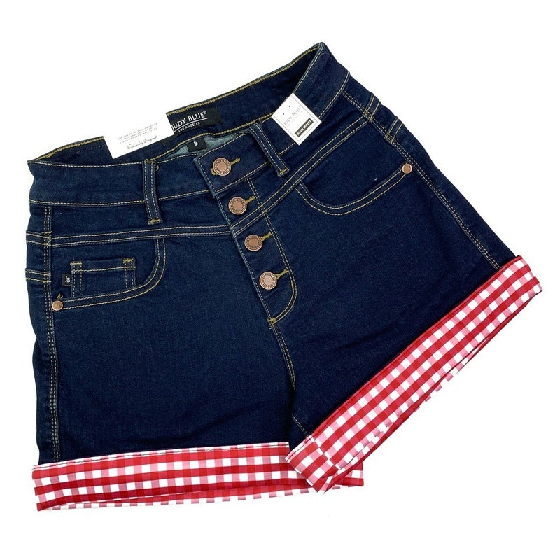 PLUS/REG Judy Blue Red Gingham Cuffed Shorts