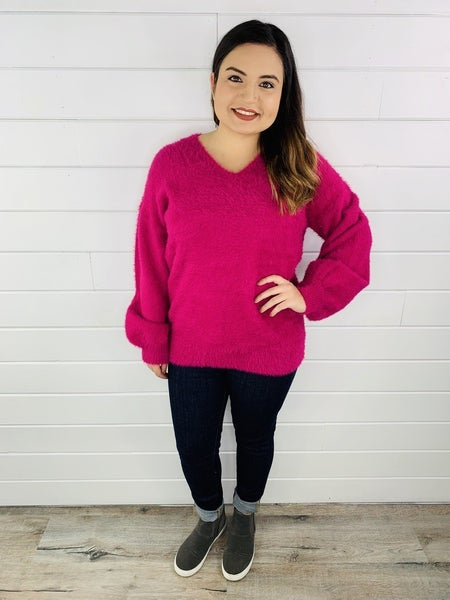 PLUS/REG Oversized Magenta Mohair Sweater