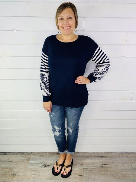 PLUS/REG HoneyMe Navy Top with Striped and Patterned Balloon Sleeve