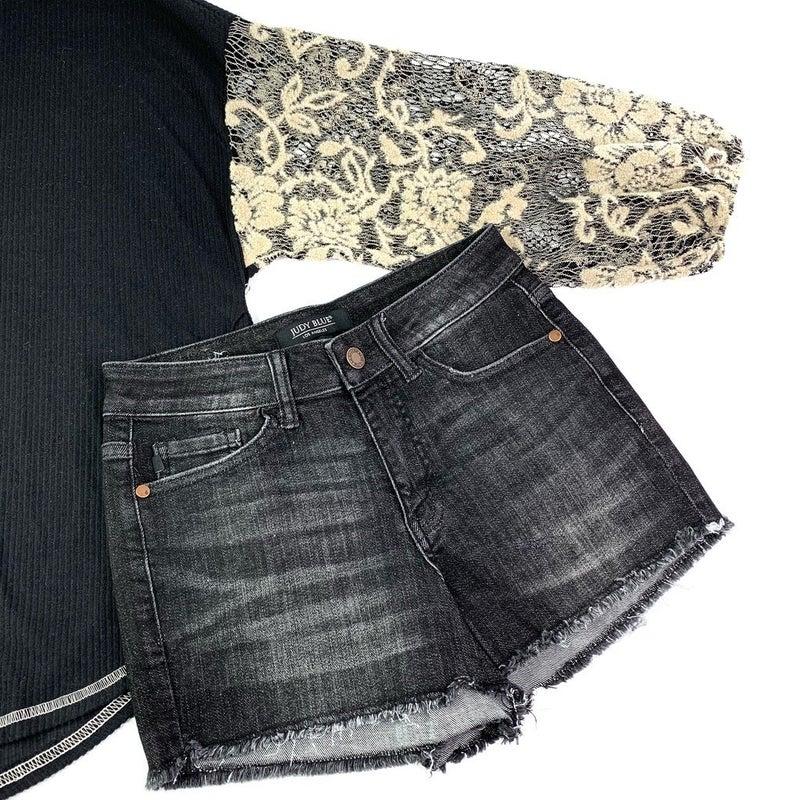 PLUS/REG Judy Blue Black Cutoff Shorts