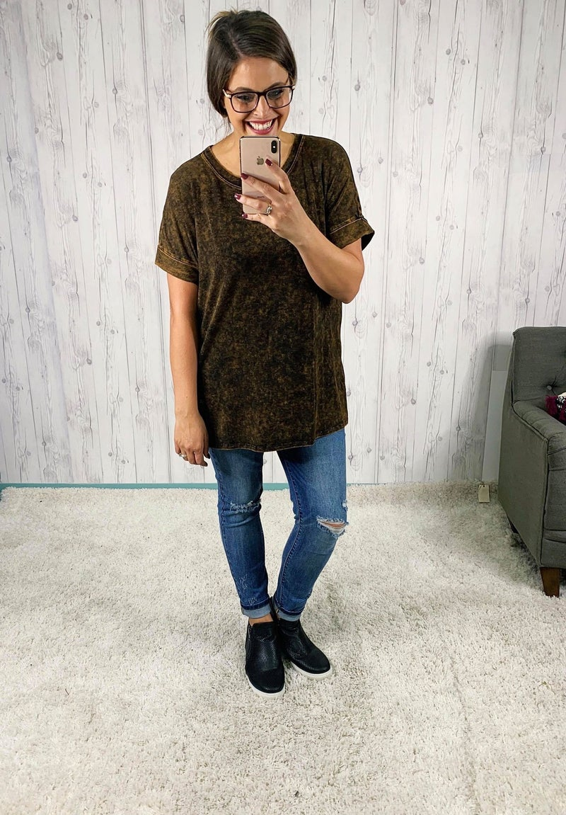DEAL OF THE DAY!! PLUS/REG Mineral Wash Cuffed Sleeve Tee