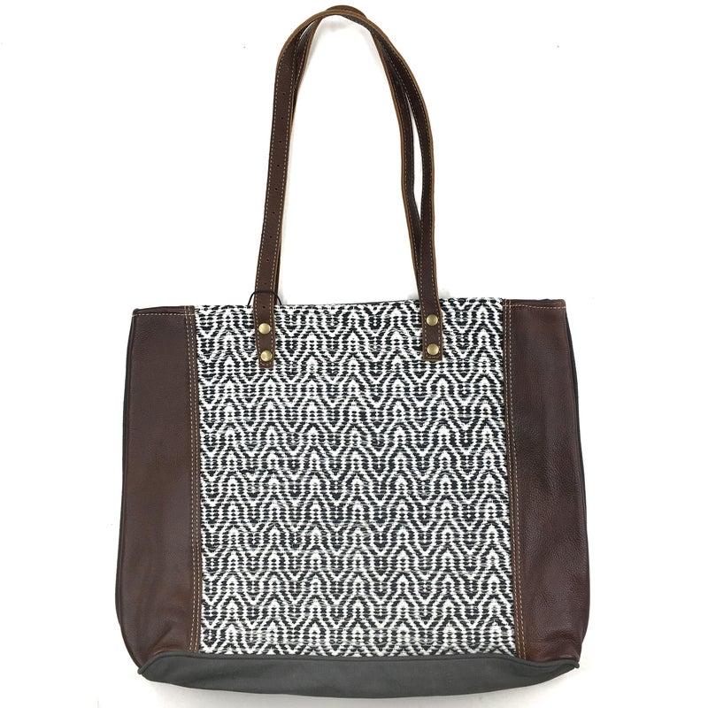 Myra Bag Black and White Jacquard Front Leather Bag