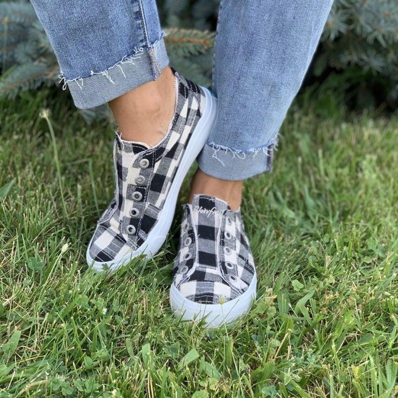 Blowfish Black and White Buffalo Check Sneakers