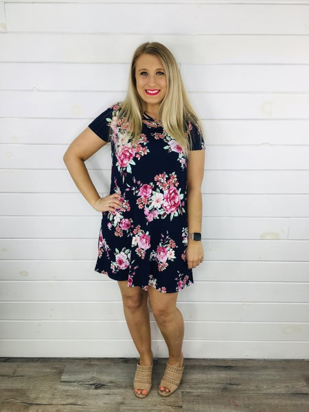 Plus/Reg HoneyMe Navy and Floral Dress with Criss Cross Neckline