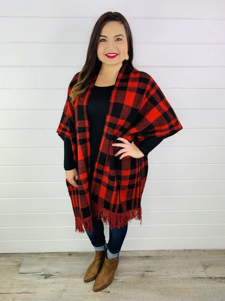 Plus/Reg Oversized Plaid Open Front Poncho