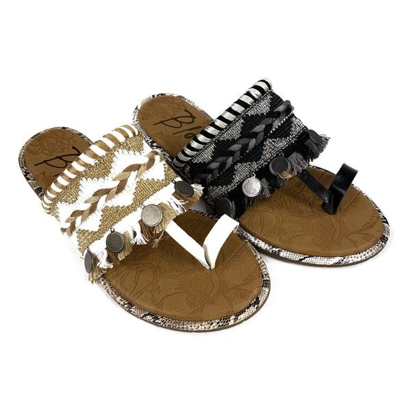 Blowfish Boho Embroidered Fringe Sandals--2 Colors!