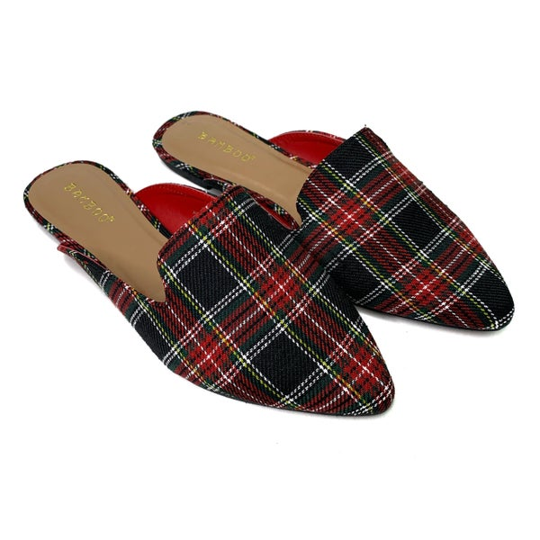 DEAL OF THE DAY! Holiday Plaid Slides!