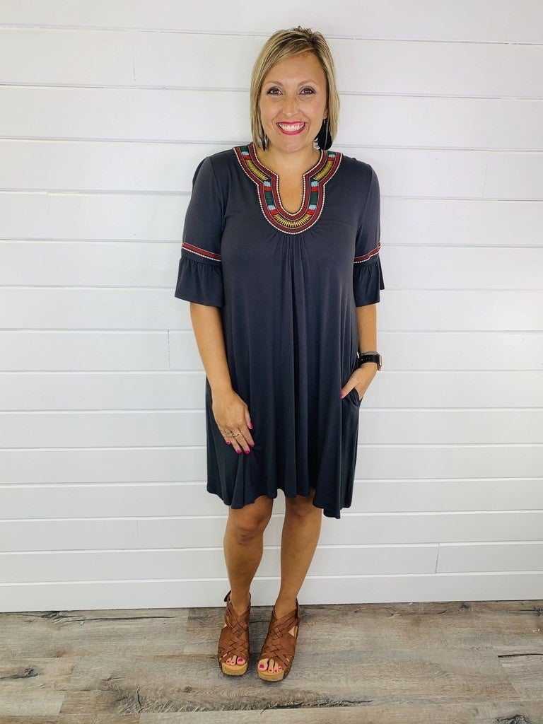Charcoal Embroidered Dress with Pockets