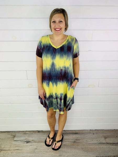 PLUS/REG Tie Dye Flowy V Neck Dress with Pockets - 3 Colors!