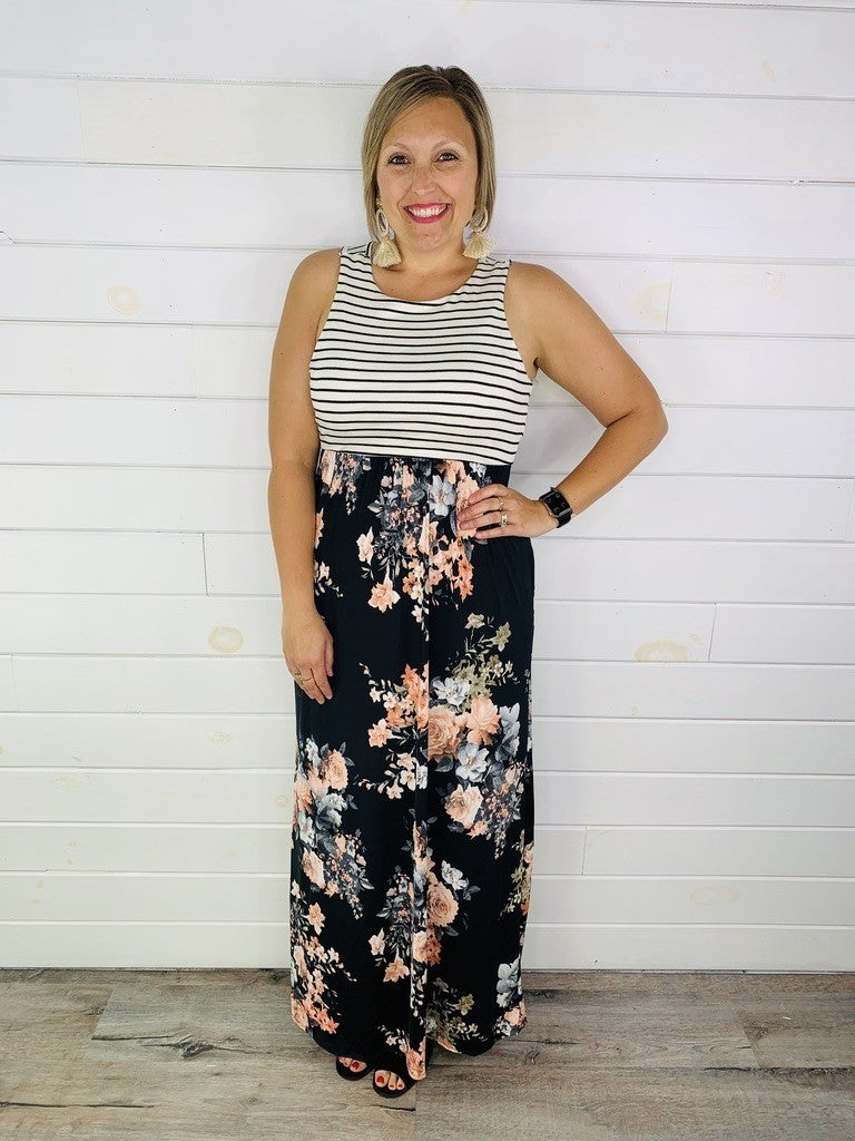 Black Floral and Stripe Sleeveless Maxi Dress