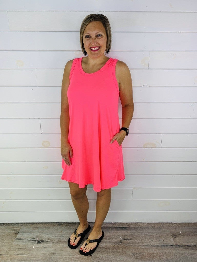 Plus/Reg Neon Swing Dress with Pockets - 3 Colors!