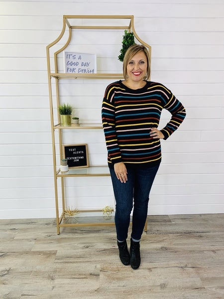 Black Lightweight Sweater with Multicolored Stripes