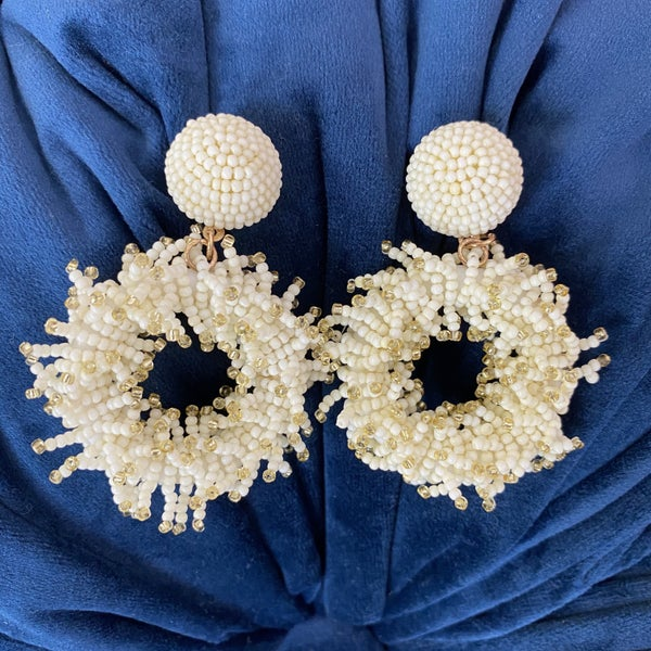Ivory Fringe Circle Seed Bead Earrings