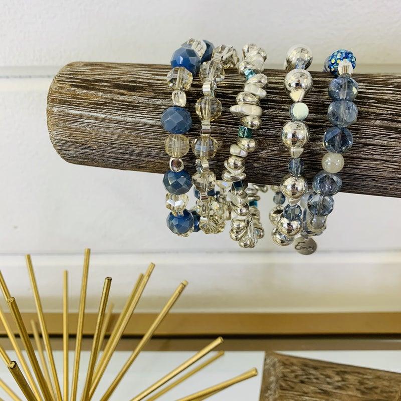 Erimish Silver and Blue Stack Bracelet