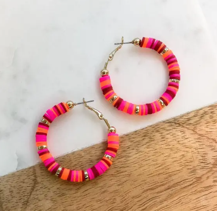 PREAUTHORIZE! Pink and Wine Lightweight Hoop Earrings