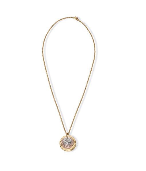 Myra Tri Toned Disc Necklace
