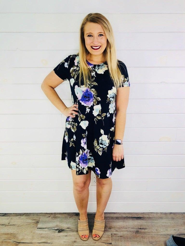 PLUS/REG HoneyMe Navy and Purple Floral Dress