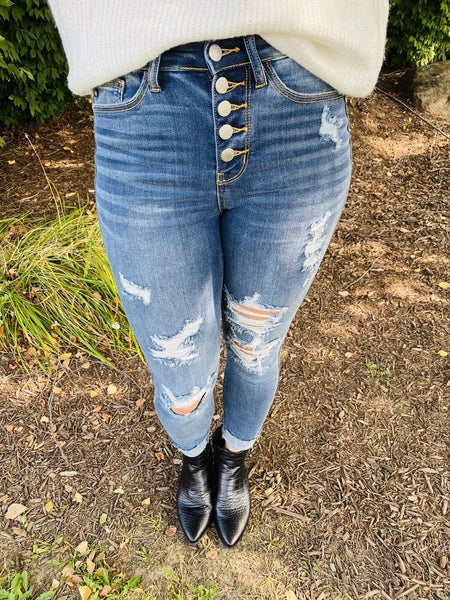 Judy Blue Press the Pause Button Fly Skinnies