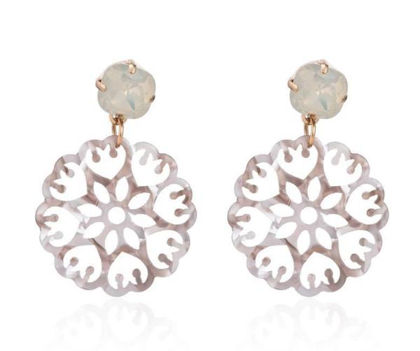 Grey Acrylic Mandala Earrings with Iridescent Gem