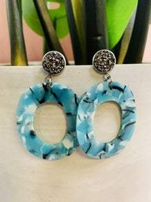 Teal Oval Earring with Grey Druzy Stone