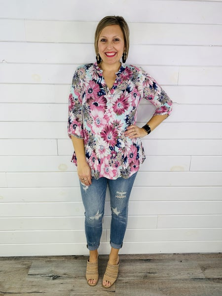 PLUS/REG HoneyMe Magenta and Mint Floral Gabby