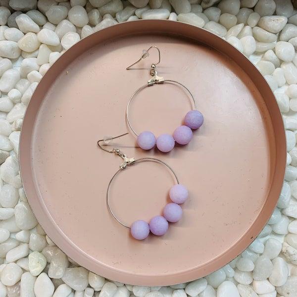 Custom MOCO Beaded Stone Hoop Earrings