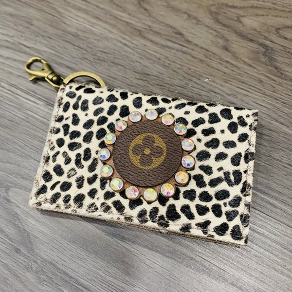 Authentic Upcycled LV Spotted Credit Card Case With Iridescent Rhinestones