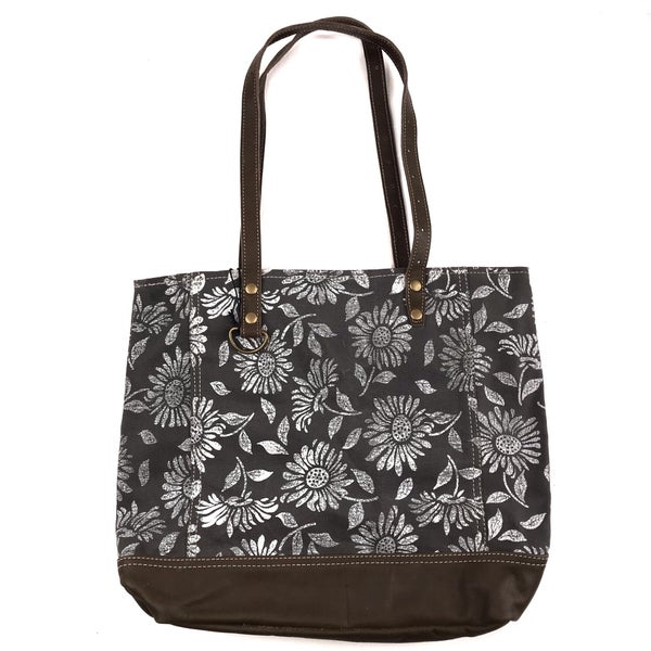Myra Bag Sunflower and Leather Tote