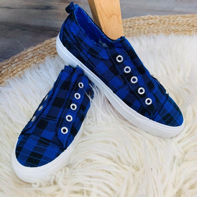 Corky's Blue Plaid Slip On Sneakers