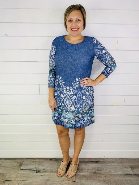 PLUS/REG HoneyMe Blue Border Print Dress
