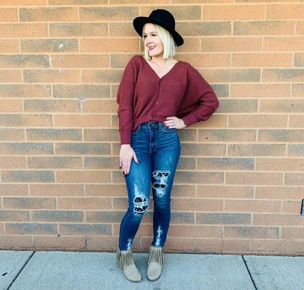*PLUS/REG Judy Blue Be Fierce Leopard Patch Skinny Jeans